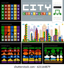 Vector illustration. A superb quality of a city constructor. A beautiful city constructor from multi-colored blocks. For advertising, leaflets, banners, web and flyers. Each part is a grouped element.