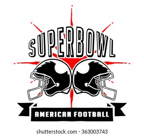 Vector illustration of Superbowl and  American football badge in manual drawing style