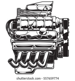 Vector illustration of a supercharged engine.