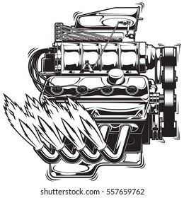 Vector illustration of a supercharged engine running
