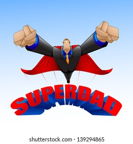 vector illustration of superdad flying on sky on Father's Day background