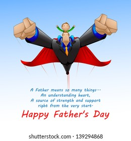 vector illustration of Superdad flying with son on Father's Day background