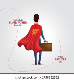 vector illustration of superdad on Father's Day background Concept of Father's day. corporate father