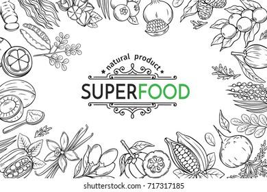 Vector illustration superfood berries and fruits poster template. Carob, ginger, moringa, lucuma, coji berries, mangosteen, acai, guarana and noni. Healthy detox natural product of camu camu.