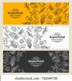 Vector illustration superfood berries and fruits banner template. Healthy detox natural product of camu camu, garcinia cambogia and maca. Carob, ginger, moringa, lucuma, coji berries, mangosteen, acai