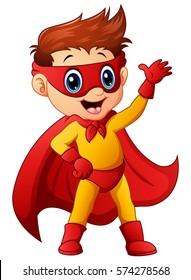Vector illustration of Superhero boy waving hand