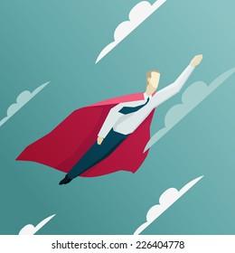 Vector illustration of Superhero businessman is flying