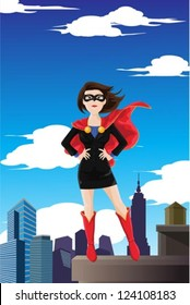 A vector illustration of a superhero businesswoman wearing a cape standing on top of a building