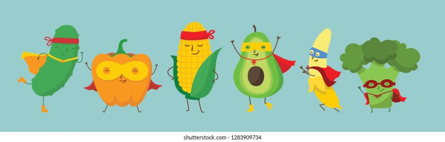 Vector illustration of Superhero fruits and vegetables set in the flat cartoon comic style