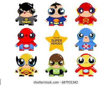 Vector illustration of superheroes. Comic characters in the cartoon style. Lovely little people clip art. Cartoon style.