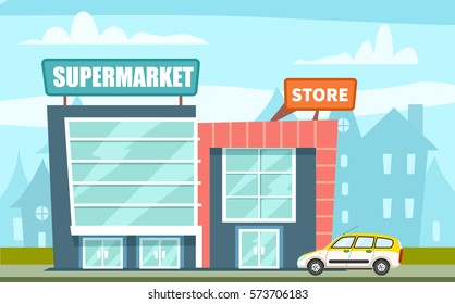 vector illustration of a Supermarket build near the road, against the silhouettes of cityscape