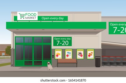 A vector illustration of a supermarket grocery store.