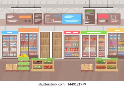 Vector illustration of supermarket interior. Big shop super market with lot of goods, fruits and vegetables. Shopping mall interior in flat cartoon style.