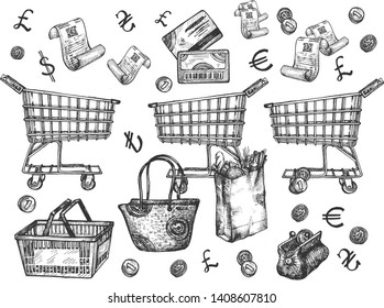 Vector illustration of a supermarket shopping groceries objects set. Economy wallet with falling in coins, paper bag with bakery bread loaf, discount loyalty card, purchase check, basket, trolley, bag
