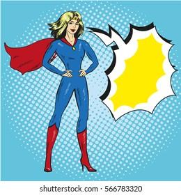 Vector illustration of superwoman in retro pop art comic style. Beautiful girl in superhero costume.