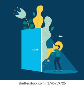 Vector illustration, support concept, young man looking ahead through an ajar door, support opportunity and chance