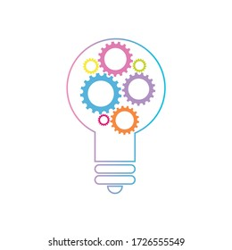 A vector illustration for supporting developmental health logo with bulb and gear symbol