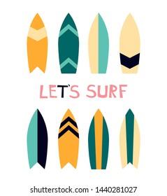 Vector illustration of surfboard. Summer active kind of sport.