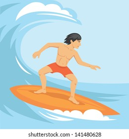 Vector illustration of surfer riding the wave