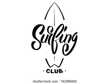 Vector illustration Surfing Logo Template Design Vector.Vintage hand lettering emblem of Surf club with surfing boards.