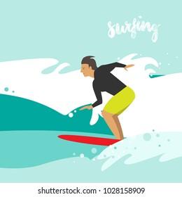 Vector illustration of surfing. A surfer man on a surfboard. Summer, sea, ocean