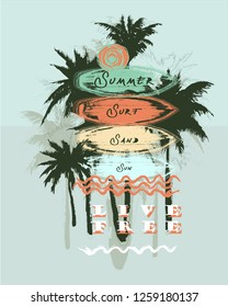 Vector Illustration Surfing Waves Surfboard Travel T-shirt Graphic Tropical Beach Palm Tree Summer Vacation Fashion Design with Typography