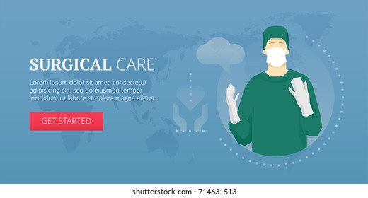 Vector illustration of surgical care flat line style banner and surgeon in gloves.
