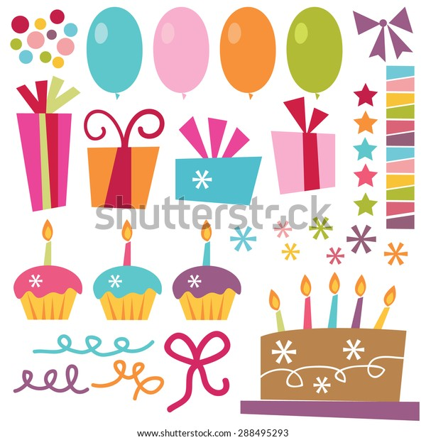 Vector Illustration Surprise Birthday Party Elements