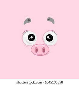 Vector illustration of the surprised pig face on pink background.