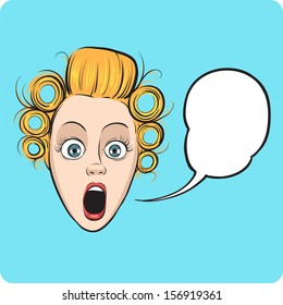 Vector illustration of surprised woman face with speech bubble. Easy-edit layered vector EPS10 file scalable to any size without quality loss. High resolution raster JPG file is included.