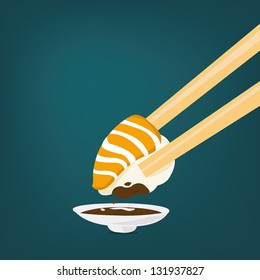 Vector Illustration of a Sushi