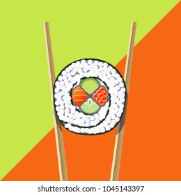 Vector illustration of sushi roll with two chopsticks on the bright green and orange background. Flat geometric design and textures.