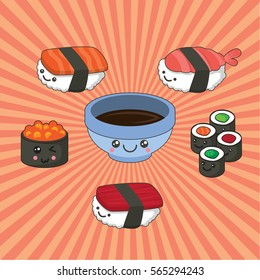 Vector illustration of sushi set in kawaii style. Sushi and rolls with tuna, salmon, caviar and soy sauce.
