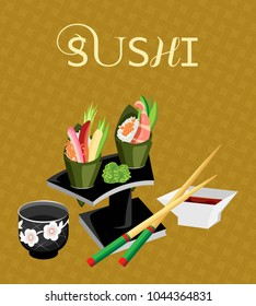 Vector illustration with sushi stand temaki with a cup for sake and chopsticks on a mat background.