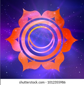 Vector illustration of Svadhisthana chakra on outer space ultraviolet background.
