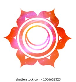 Vector illustration of Svadhisthana chakra with outer space and nebula inside.