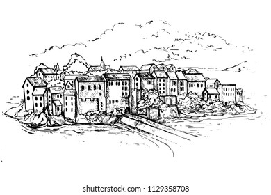 Vector Illustration of Sveti Stefan, small island in Budva and resort in Montenegro. Balkans, Adriatic sea, Europe. Beauty world.Sketch.