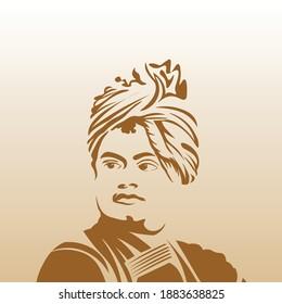 Vector Illustration of Swami Vivekananda, Indian spiritual hindu monk. Youth Day Celebration
