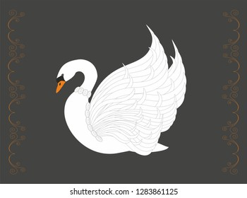 Vector illustration Swan in abstrakt beautiful design.
