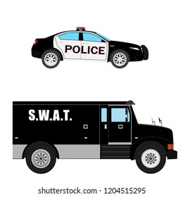 Vector illustration. Swat vehicle and police car realistic hi- detailed isolated on white background. Armored transport