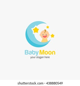 Vector illustration of Sweet baby shop logotype design template for business. flat style