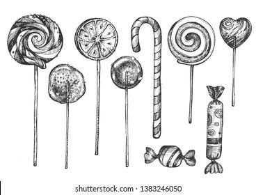 Vector illustration of sweet candies on sticks set. Different lollipops desserts types like swirly, dumdum, sugar, fruit, heart candy shop assortment, child treat. Vintage hand drawn style.