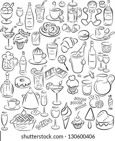 vector illustration of  sweet and drink collection in black and white