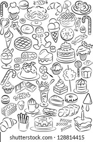 vector illustration of sweet food collection in black and white