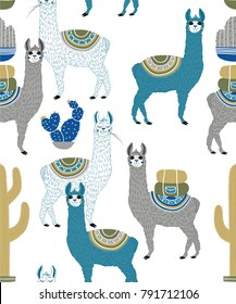 Vector illustration of Sweet Llama or alpaca and cactus. Seamless pattern of Hand draw llama. South america's llama illustration pattern for fabric, wallpaper, for kids goods. Cute Alpaca.