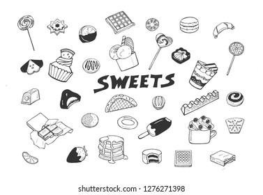 Vector illustration of sweets set. Candy, cookie, chocolate, bar, waffle, lollipop, cup, pancakes, macaroons, ice cream on stick, desserts. Hand drawn minimalistic sketch doodle style.