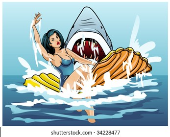 vector illustration of a swimmer being attacked by a shark..shark teeth contained in clipping mask