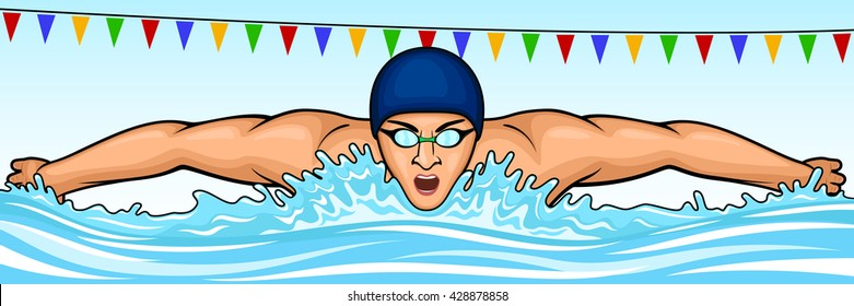 Vector illustration of a swimmer swimming the butterfly stroke.