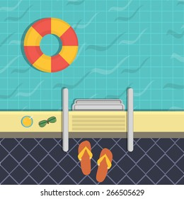 Vector illustration - a swimming pool, a top view.