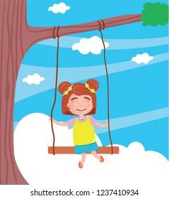 Vector illustration of swinging on a swing child